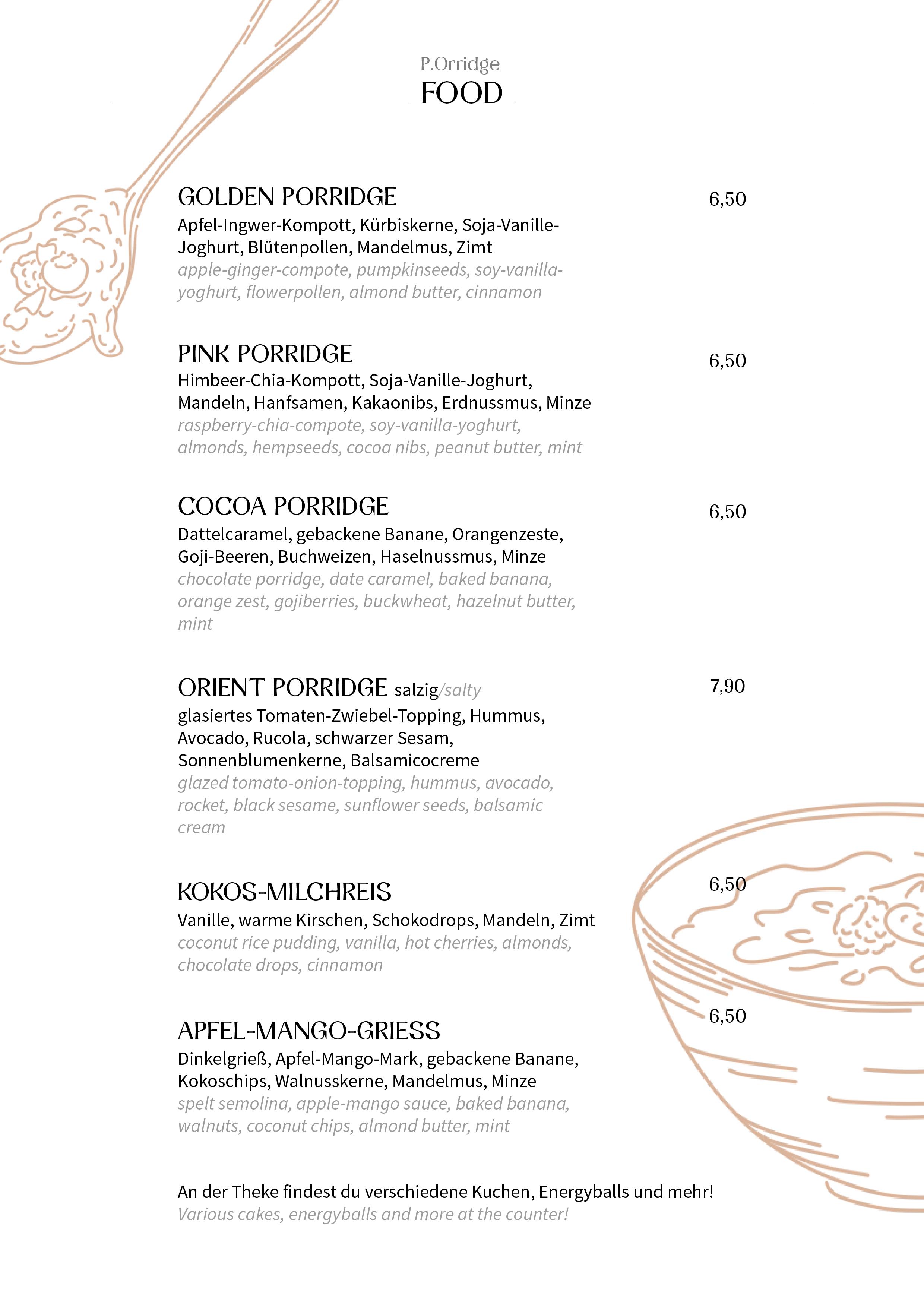 Speisekarte Porridge Food