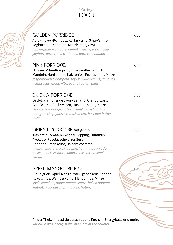 Speisekarte Food Porridge
